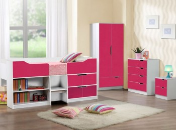 Birlea Paddington 4 PIECE BEDROOM SET White and Pink