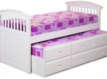 Sweet Dreams Ruby White Wooden Captains Bed