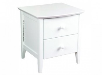 Sweet Dreams Ruby White 2 Drawer Bedside Cabinet