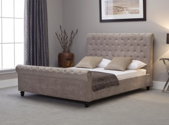 Emporia Mayfair 5ft Kingsize Stone Fabric Bed