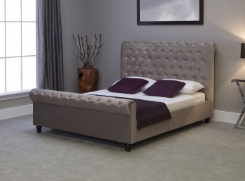 Emporia Mayfair 4ft6 Double Silver Fabric Bed