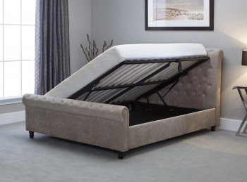 Emporia Oxford 6ft Super Kingsize Stone Fabric Ottoman Bed
