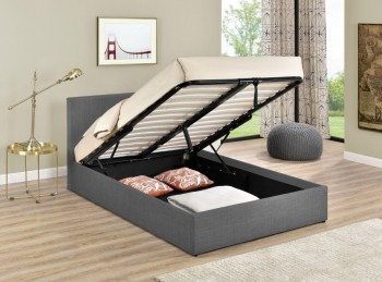 Birlea Berlin 3ft Single Grey Check Fabric Ottoman Bed