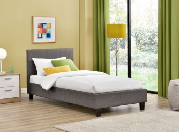 Birlea Berlin 3ft Single Grey Check Fabric Bed Frame