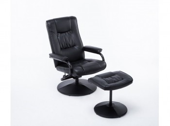 Birlea Memphis Black Faux Leather Swivel Chair And Stool