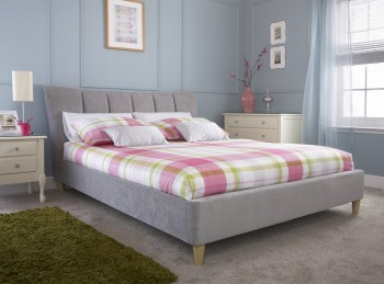 GFW Luciana 4ft6 Double Silver Upholstered Bed Frame