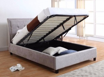 Flair Furnishings Charlotte 4ft6 Double Silver Fabric Ottoman Bed Frame