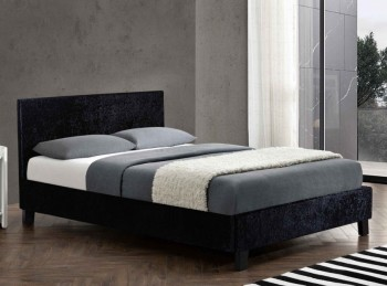 Birlea Berlin 4ft Small Double Black Crushed Velvet Fabric Bed Frame