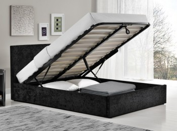 Birlea Berlin 4ft6 Double Black Crushed Velvet Fabric Ottoman Bed