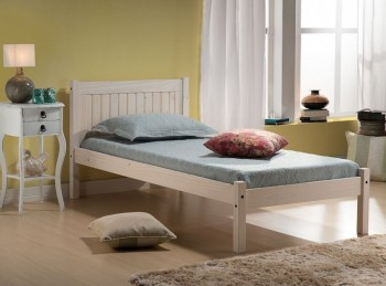 Birlea Rio 3ft Single White Washed Pine Wooden Bed Frame