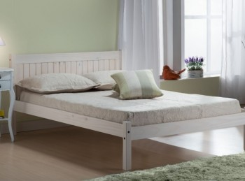 Birlea Rio 4ft Small Double White Washed Pine Wooden Bed Frame