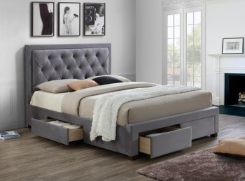Birlea Woodbury 6ft Super Kingsize Grey Fabric Bed Frame With 4 Drawers