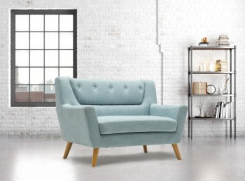 Birlea Lambeth 2 Seater Sofa In Duck Egg Blue Fabric