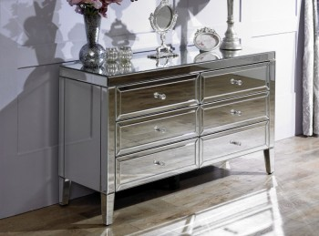 Birlea Valencia 6 Drawer Mirrored Chest