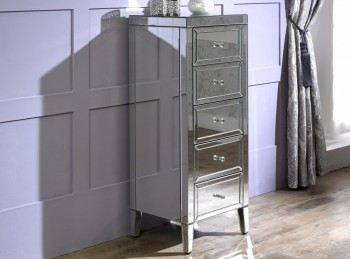 Birlea Valencia 5 Drawer Narrow Mirrored Chest