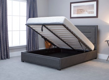 Emporia Knightsbridge 4ft6 Double Grey Fabric Ottoman Bed