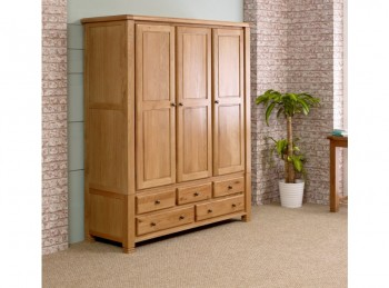 Birlea Woodstock 3 Door 5 Drawer Oak Wardrobe