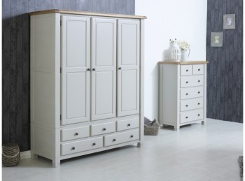 Birlea Woodstock 3 Door 5 Drawer Grey Wardrobe