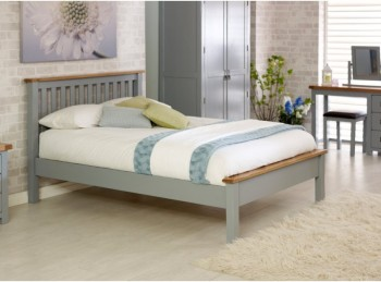 Birlea New Hampshire 4ft6 Double Grey Wooden Bed Frame With Low Footend