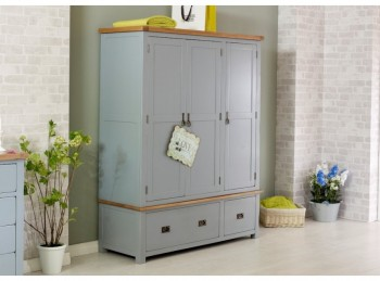 Birlea New Hampshire Grey 3 Door 2 Drawer Wardrobe