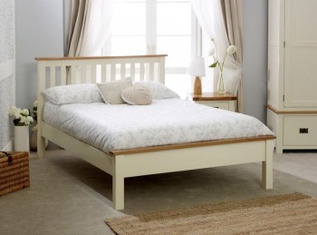 Birlea New Hampshire 5ft Kingsize Cream And Oak Wooden Bed Frame With Low Footend