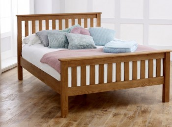 Birlea Malvern 4ft6 Double Oak Wooden Bed Frame With High Footend