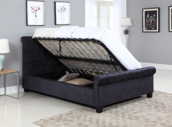 Flair Furnishings Lola 5ft Kingsize Black Fabric Ottoman Bed Frame