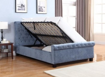 Flair Furnishings Lola 4ft6 Double Blue Fabric Ottoman Bed Frame