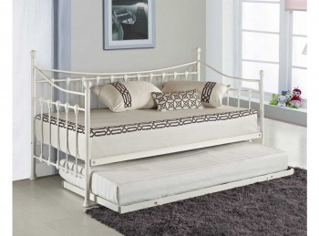 Sleep Design Versailles 3ft Single White Metal Day Bed And Trundle