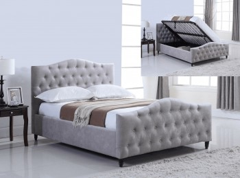 Flair Furnishings Laura 4ft6 Double Silver Fabric Ottoman Bed Frame