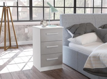 Birlea Lynx White with Grey Gloss 3 Drawer Bedside