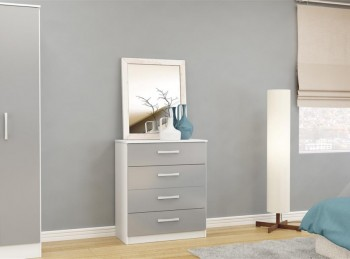 Birlea Lynx White with Grey Gloss 4 Drawer Chest of Drawers