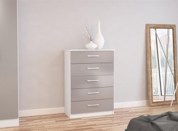Birlea Lynx Grey with White Gloss 5 Drawer Chest of Drawers