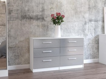 Birlea Lynx White with Grey Gloss 6 Drawer Wide Chest of Drawers