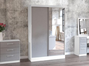Birlea Lynx White with Grey Gloss Sliding Door Wardrobe with Mirror