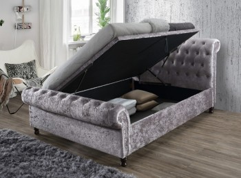 Birlea Castello 6ft Super Kingsize Steel Crushed Velvet Fabric Ottoman Bed Frame