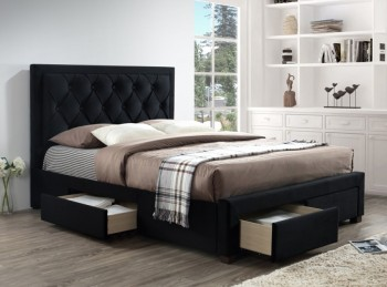 Birlea Woodbury 4ft6 Double Black Velvet Fabric Bed Frame With 4 Drawers