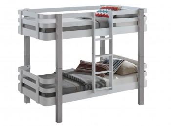 Sweet Dreams Trendy Bunk Bed In White And Grey