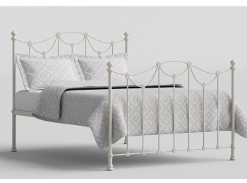 OBC Carie 4ft 6 Double Glossy Ivory Metal Bed Frame