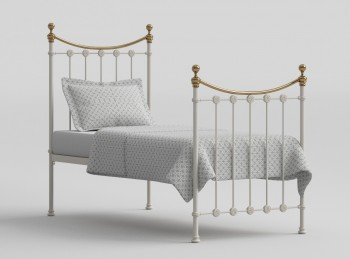 OBC Carrick 3ft Single White With Brass Metal Headboard