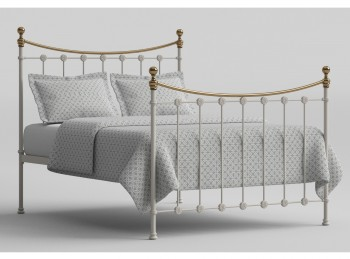 OBC Carrick 4ft6 Double White With Brass Metal Headboard