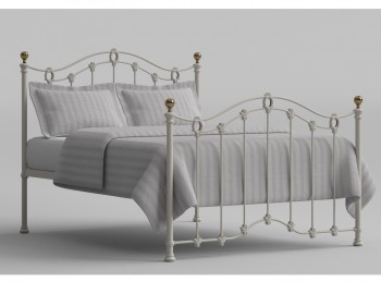 OBC Clarina 4ft 6 Double Ivory Metal Headboard