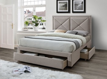 Limelight Cezanne 4ft6 Double Mink Fabric Bed Frame With Drawers