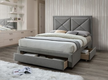 Limelight Cezanne 4ft6 Double Grey Fabric Bed Frame With Drawers