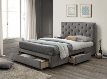 Limelight Monet 5ft Kingsize Grey Fabric Bed Frame With Drawers