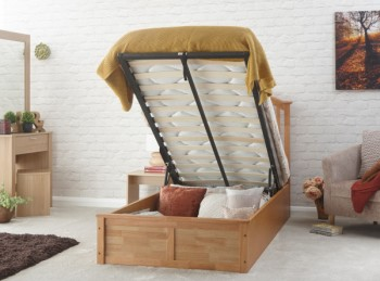 GFW Madrid 3ft Single Natural Oak Finish Ottoman Bed