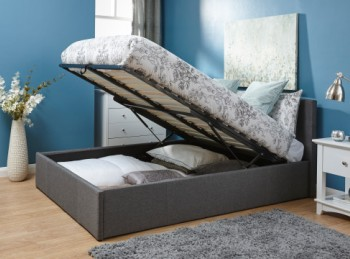 GFW End Lift Ottoman 4ft Small Double Grey Fabric Bed Frame