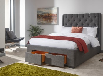GFW Koln 5ft Kingsize Grey Fabric Storage Bed