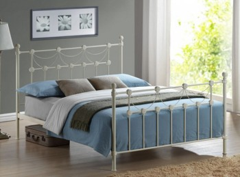 Time Living Omero 4ft6 Double Ivory Metal Bed Frame