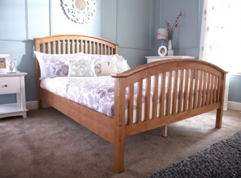 GFW Madrid 4ft6 Double Natural Oak Finish Wooden Bed Frame